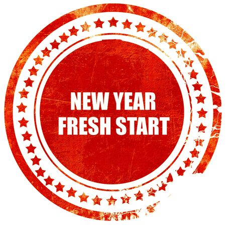 fresh start: new year fresh start, isolated red rubber stamp on a solid white background Stock Photo