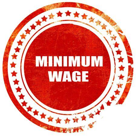 salarios: salario mínimo, aislado sello de goma de color rojo sobre un fondo blanco sólido