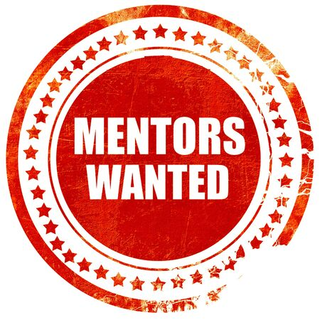 mentors: mentors wanted, isolated red rubber stamp on a solid white background Stock Photo