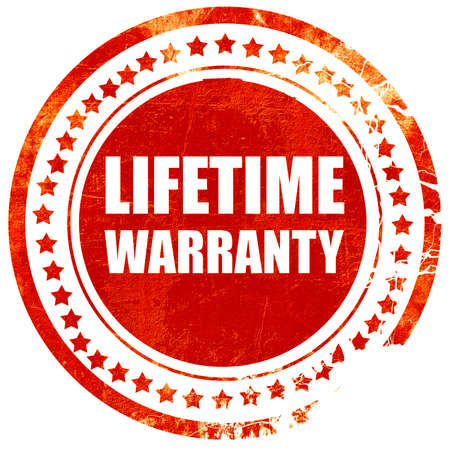 lifetime warranty, isolated red rubber stamp on a solid white background