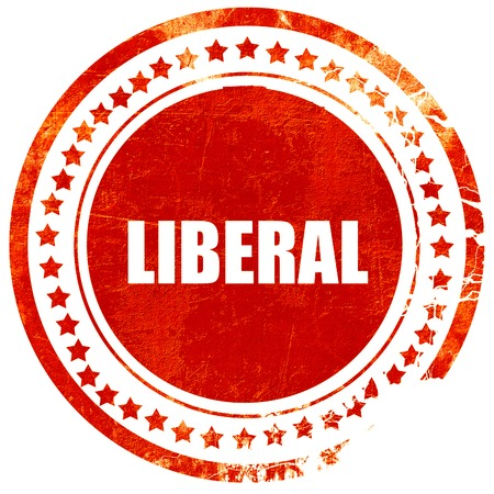liberal: liberal, isolated red rubber stamp on a solid white background