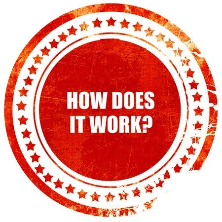 does: how does it work, isolated red rubber stamp on a solid white background