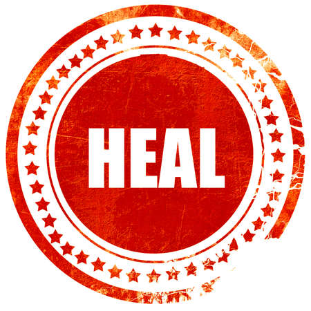 channeling: heal, isolated red rubber stamp on a solid white background