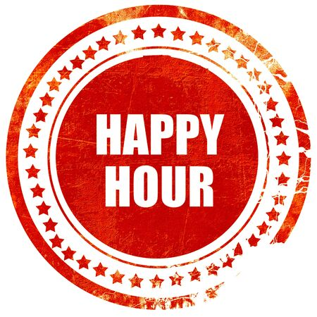 happy hour, isolated red rubber stamp on a solid white background