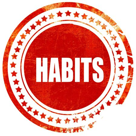 habitual: habits, isolated red rubber stamp on a solid white background Stock Photo