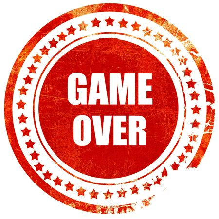 unsuccess: game over, isolated red rubber stamp on a solid white background