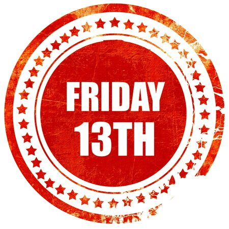 13th: friday 13th, isolated red rubber stamp on a solid white background