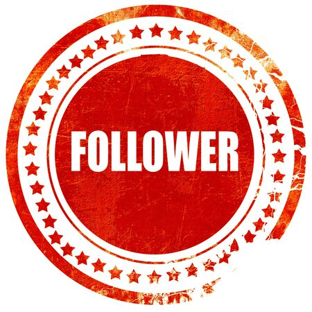 follower: follower, isolated red rubber stamp on a solid white background