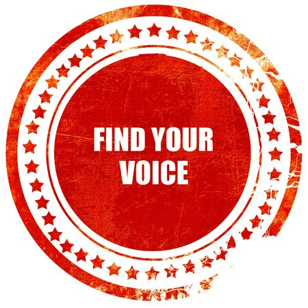 self discovery: find your voice, isolated red rubber stamp on a solid white background