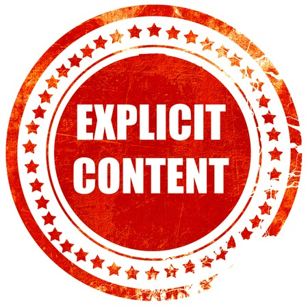 explicit: Explicit content sign with some vivid colors, isolated red rubber stamp on a solid white background Stock Photo
