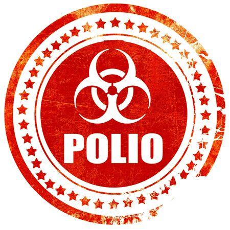 polio: Polio concept background with some soft smooth lines, isolated red rubber stamp on a solid white background Stock Photo