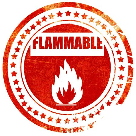 flammable: Flammable hazard sign with yellow and black colors, isolated red rubber stamp on a solid white background Stock Photo