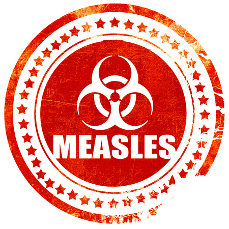 measles: measles concept background with some soft smooth lines, isolated red rubber stamp on a solid white background
