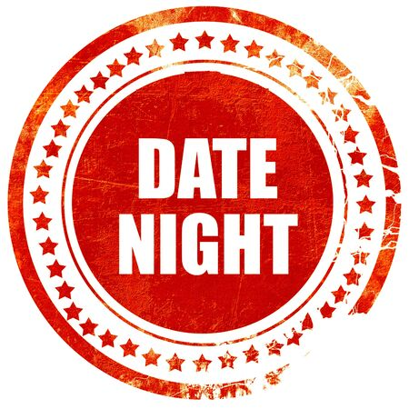 date night: date night, isolated red rubber stamp on a solid white background