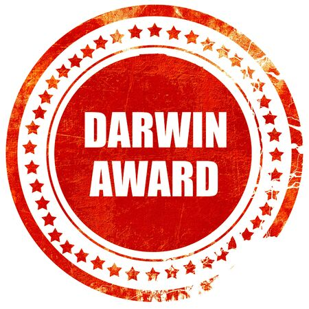 nominated: darwin award, isolated red rubber stamp on a solid white background Stock Photo