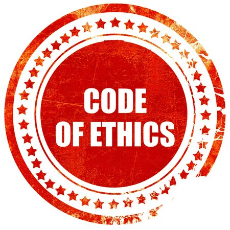 working ethic: code of ethics, isolated red rubber stamp on a solid white background