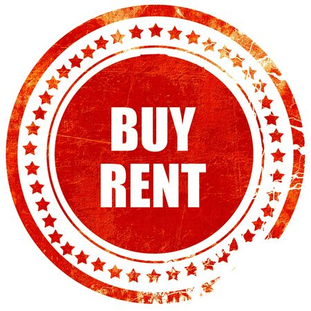 buying questions: buy rent, isolated red rubber stamp on a solid white background