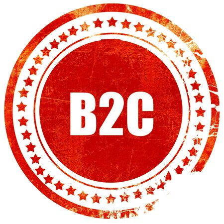 b2c: b2c, isolated red rubber stamp on a solid white background