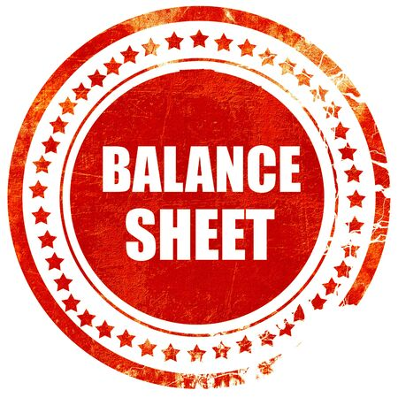rubber sheet: balance sheet, isolated red rubber stamp on a solid white background Stock Photo