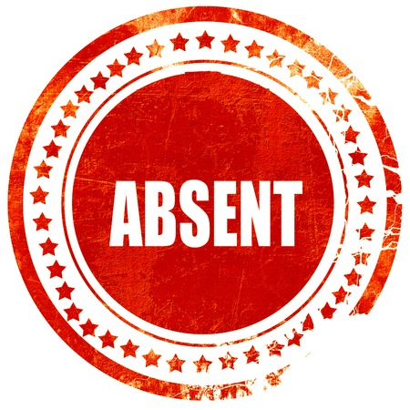 absent: absent, isolated red rubber stamp on a solid white background