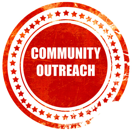 outreach: Community outreach sign with some smooth lines, isolated red rubber stamp on a solid white background Stock Photo