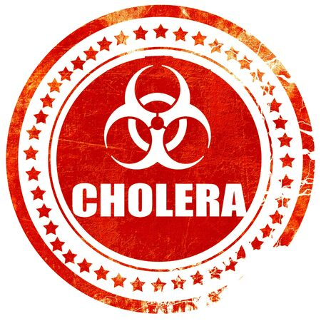 colera: Cholera concept background with some soft smooth lines, isolated red rubber stamp on a solid white background