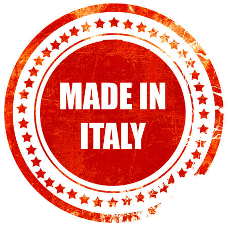 made in italy: Made in italy with some soft smooth lines, isolated red rubber stamp on a solid white background Stock Photo
