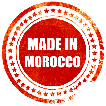made in morocco: Made in morocco with some soft smooth lines, isolated red rubber stamp on a solid white background