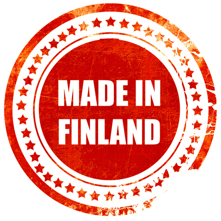 made in finland: Made in finland with some soft smooth lines, isolated red rubber stamp on a solid white background