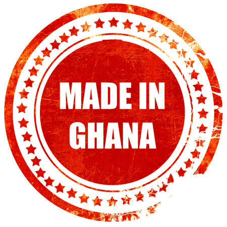 ghanese: Made in ghana with some soft smooth lines, isolated red rubber stamp on a solid white background