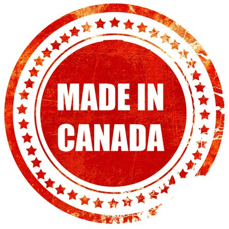 canada stamp: Made in canada with some soft smooth lines, isolated red rubber stamp on a solid white background