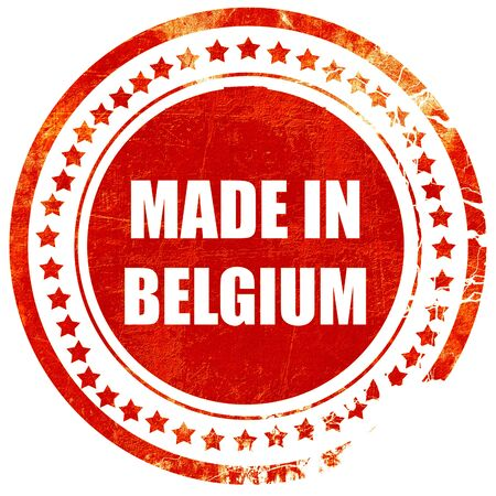 made in belgium: Made in belgium with some soft smooth lines, isolated red rubber stamp on a solid white background