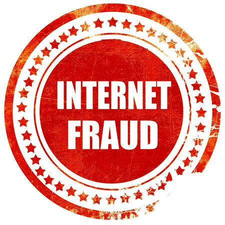 scammer: Internet fraud background with some smooth lines, isolated red rubber stamp on a solid white background
