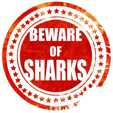sighting: Beware of sharks sign with some smooth lines, isolated red rubber stamp on a solid white background Stock Photo