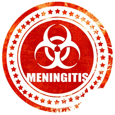 meningitis: meningitis virus concept background with some soft smooth lines, isolated red rubber stamp on a solid white background