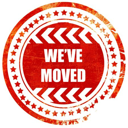 We've moved sign with some soft smooth lines, isolated red rubber stamp on a solid white background