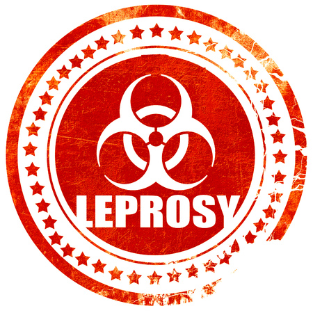 lepra: Concepto del fondo de la lepra con unas l�neas suaves suaves, aisladas sello de goma de color rojo sobre un fondo blanco s�lido