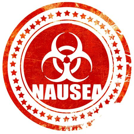 nausea: Nausea concept background with some soft smooth lines, isolated red rubber stamp on a solid white background Stock Photo