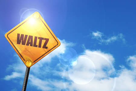 waltzing: waltz dance: yellow road sign with a blue sky and white clouds