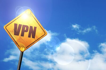 vpn: vpn: yellow road sign with a blue sky and white clouds