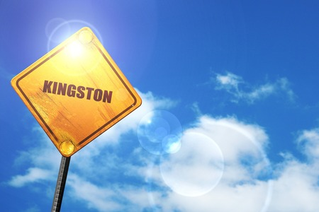 kingston: kingston: yellow road sign with a blue sky and white clouds