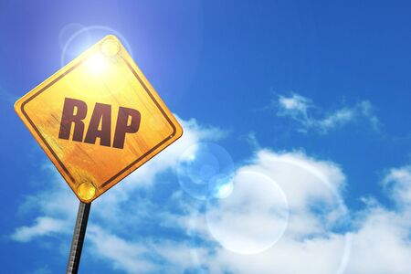 rap music: rap music: yellow road sign with a blue sky and white clouds