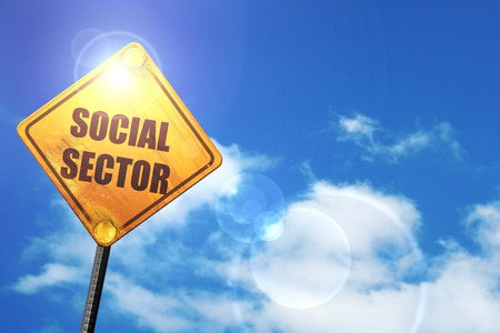 wap: social sector: yellow road sign with a blue sky and white clouds