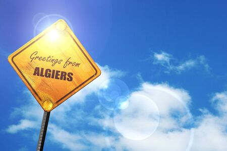 algiers: Greetings from algiers with some smooth lines: yellow road sign with a blue sky and white clouds Stock Photo