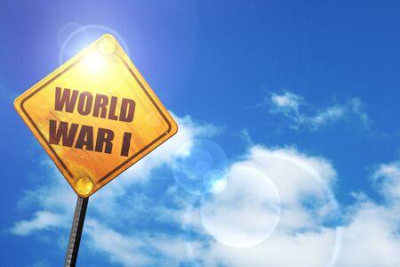 world war 1: World war 1 background with some smooth lines: yellow road sign with a blue sky and white clouds