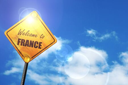 trip hazard sign: Welcome to france card with some soft highlights: yellow road sign with a blue sky and white clouds Stock Photo
