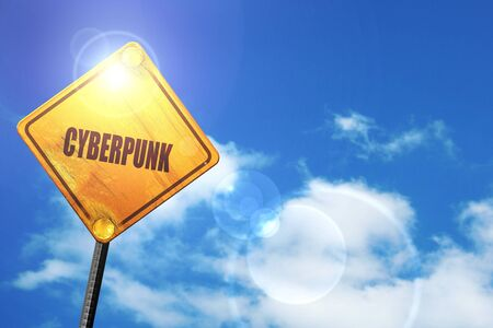 cyberpunk: cyberpunk: yellow road sign with a blue sky and white clouds Stock Photo