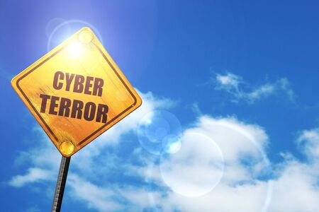 cyber terrorism: Cyber terror background with some smooth lines: yellow road sign with a blue sky and white clouds Stock Photo
