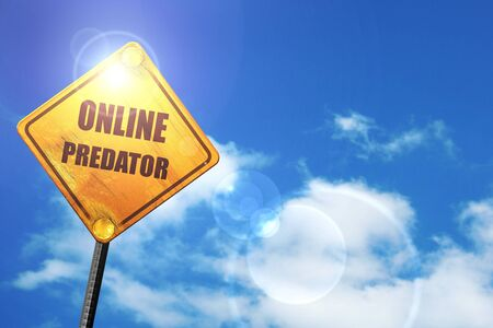online predator background with some smooth lines: yellow road sign with a blue sky and white clouds Reklamní fotografie
