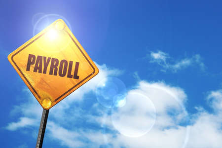 euro screw: payroll: yellow road sign with a blue sky and white clouds